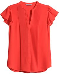 H&M Blouse With Butterfly Sleeves - Lyst