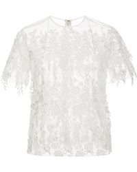 Katie Ermilio - Fringed Floral Guipure Tee - Lyst