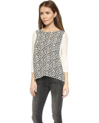 Rebecca Taylor Lena Leopard Silk Top - Chalk - Lyst