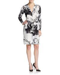 Versace Printed Tie Jersey Shirtdress - Lyst