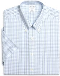 Brooks Brothers Non-Iron Madison Fit Short-Sleeve Twin Check Dress Shirt - Lyst