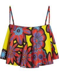 House of Holland Cropped Floral-Print Crepe Top - Lyst