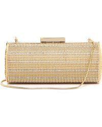 Whiting & Davis Crystal Pinstripes Clutch Gold - Lyst