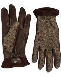 Ugg Herringbone Leather Gloves - Lyst