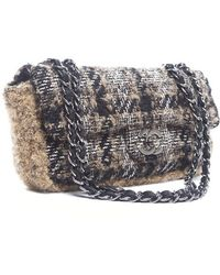 Chanel Pre-owned Tweed Boucle Eastwest Flap - Lyst