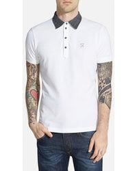 Diesel 'Antho' Extra Trim Fit Pique Polo white - Lyst