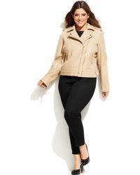 Michael Kors Michael Plus Size Dual-Zip Leather Moto Jacket - Lyst