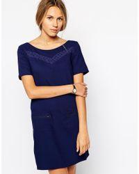 Colorblock Zip Detail Shift Dress - Lyst