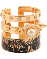 Maria Francesca Pepe - Distressed Spikes Pearls Ring - Lyst