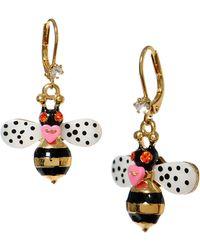 Betsey Johnson Bumble Bee Drop Earrings - Multicolour