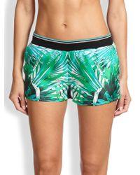 Roberto Cavalli Foliage-Print Silk-Blend Shorts - Lyst