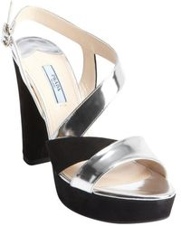 Prada Black and Silver Patent Leather Strappy Suede Heel Sandals - Lyst
