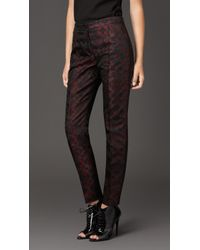 Burberry Geometric Floral Jacquard Trousers - Lyst
