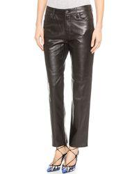 J Brand Casey Leather Boyfreind Pants - Black - Lyst