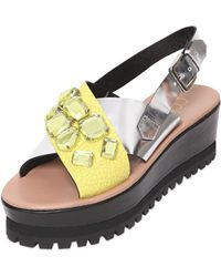 Coliac 50Mm Crackled & Metallic Leather Sandals - Lyst