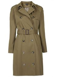Topshop Cotton Trench Coat - Lyst