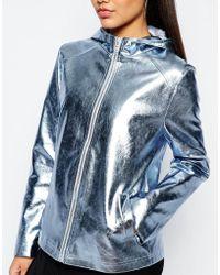 Missguided Metallic Hooded Raincoat