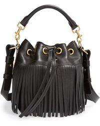 Saint Laurent Fringe Calfskin Bucket Bag - Lyst