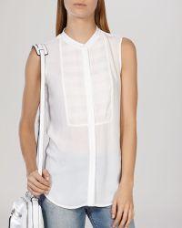Karen Millen Blouse - Sheer Bib white - Lyst
