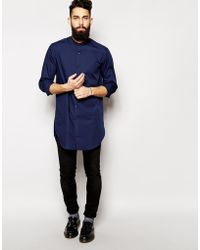 Asos Smart Shirt in Longline with Long Sleeves and Grandad Collar - Lyst