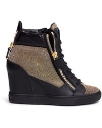 Giuseppe Zanotti 'Lorenz' Stud Pavé Leather Wedge Sneakers - Lyst