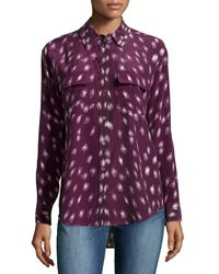 Equipment Long-sleeve Spotted-print Silk Blouse - Lyst