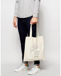 ASOS Canvas Tote Bag With Pizza Print - Natural