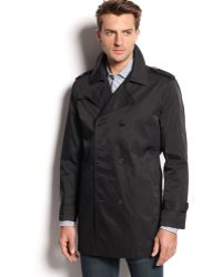 Calvin Klein Black Doublebreasted Trench - Lyst