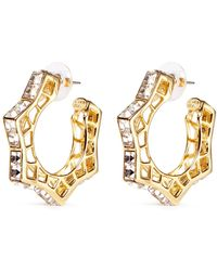 Kenneth Jay Lane Openwork Metal Horsebit Earrings - Lyst
