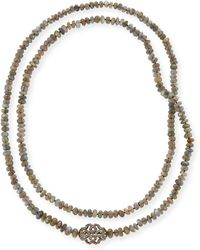 Siena Jewelry - Labradorite & Diamond Station Long Necklace - Lyst
