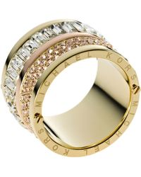 Michael Kors Goldtone Pave And Stone Barrel Ring - Lyst