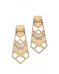 Tory Burch Chevron Drop Earrings Aged Gold - Lyst