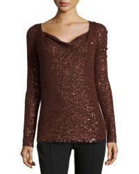 Donna Karan New York Long-Sleeve Sequined Top - Lyst