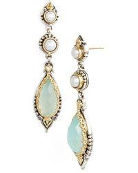 Konstantino 'Amphitrite' Pearl & Semiprecious Stone Drop Earrings - Sea Agate/ Pearl - Lyst