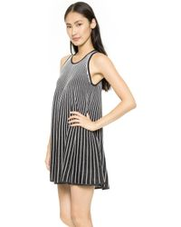 Milly Swing Flare Dress Black-white - Lyst