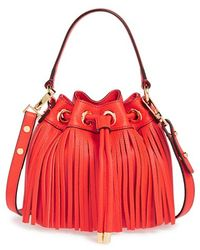 Milly Women'S 'Small Essex' Fringed Leather Bucket Bag - Red - Lyst