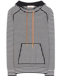 Tory Burch Geraldine Hooded Striped Sweater - Gray
