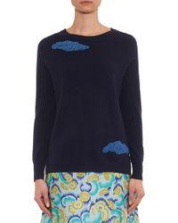 OSMAN Beaded-Clouds Cashmere Sweater - Blue