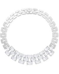 Swarovski Stainless Steel Crystal Link Necklace - Metallic