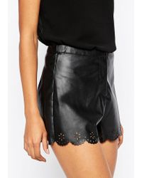 AX Paris - Scalloped Shorts In Leather Look - Lyst