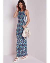Missguided Karona Printed Jersey Maxi Dress - Lyst