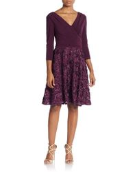 Marina - Ribbon-embroidered Jersey Faux Wrap Fit-&-flare Dress - Lyst