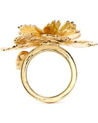 Alexander McQueen Lotus Flower Ring gold - Lyst