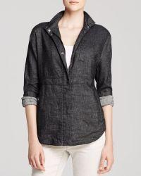 Eileen Fisher Stand Collar Denim Jacket - Lyst