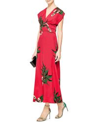Marni Floral-Print Crepe Midi Dress - Lyst