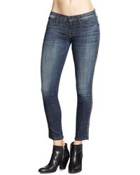 Hudson Luna Beaded Cropped Skinny Jeans - Lyst