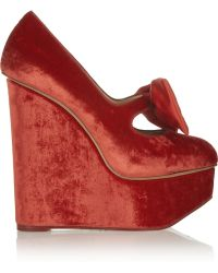 Charlotte Olympia Prudence Bow Embellished Velvet Wedge Pumps - Lyst