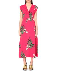 Marni Floral-Print Crepe Midi Dress - For Women - Lyst