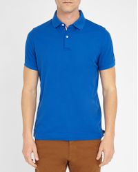 Tommy Hilfiger   Royal-blue Striped Button-placket Stretch Slim-fit Polo Shirt   Lyst
