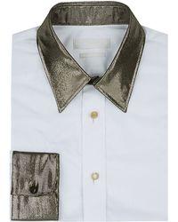 Alexander McQueen Metallic Collar Shirt - Lyst